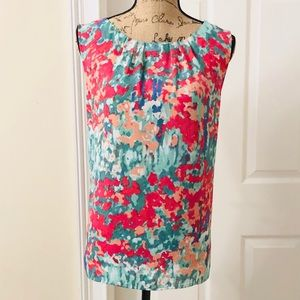 Talbots watercolor sleeveless blouse
